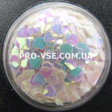 Объемные 3D блестки бриллиант опт 16 Белый перламутровый, розовый отлив хамелеон 10г, 50г, 100г, 200г, 500г, 1000г фото