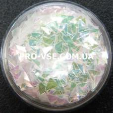 3D блестки треугольник 09 Прозрачный светло-зеленый с розовым, хамелеон 1г, 1.5г фото