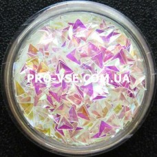 3D блестки треугольник 10 Прозрачный бирюзово-розовый, хамелеон 1г фото
