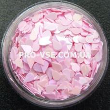 Фото Капля Розовый, перламутровый декор для маникюра 1.5 г