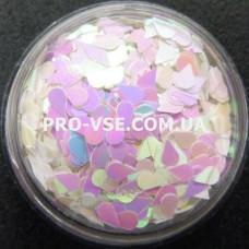 Фото Капли Белый перламутровый декор для ногтей, розово-голубой отлив