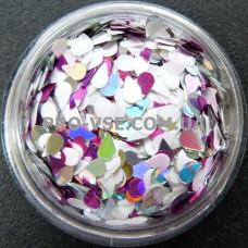 Фото Капли Микс 05 серебряно-малиновый голографический декор для ногтей