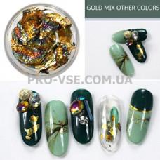 Поталь для ногтей, фольга жатая Золото/синяя фото | PRO-VSE
