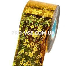 Фольга переводная Золото цветы гологр. 1м фото | PRO-VSE