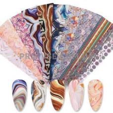Набор переводной фольги для ногтей 10 шт Texture 03 фото | PRO-VSE