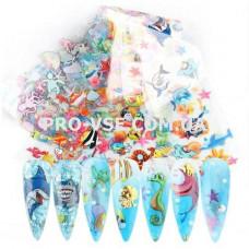 Фольга переводная для ногтей набор 10 шт  Океан, рыбки 01 фото | PRO-VSE