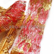 Вуаль (сетка) Фуксия с двухсторонней серебряно-золотой фольгой для ногтей 10см фото | PRO-VSE