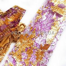 Вуаль (сетка) Фиолетовая с двухсторонней серебряно-золотой фольгой для ногтей 10см фото | PRO-VSE