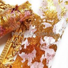 Вуаль (сетка) Розовая с двухсторонней серебряно-золотой фольгой для ногтей 10см фото | PRO-VSE