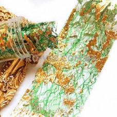 Вуаль (сетка) Зеленая с двухсторонней серебряно-золотой фольгой для ногтей 10см фото | PRO-VSE