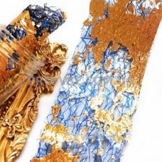 Вуаль (сетка) Синяя с двухсторонней серебряно-золотой фольгой для ногтей 10см фото | PRO-VSE