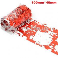 Вуаль (сетка) Красная с серебряной фольгой для ногтей 10см фото | PRO-VSE