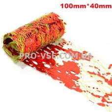 Вуаль (сетка) Оливковая с красной фольгой для ногтей 10см фото | PRO-VSE