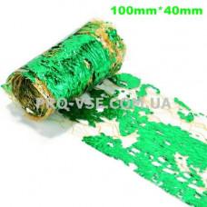 Вуаль (сетка) Оливковая с зеленой фольгой для ногтей 10см фото | PRO-VSE