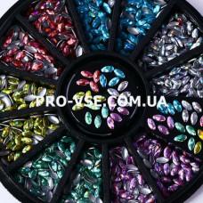 Украшения для ногтей Зернышко голография 6 цветов в карусельке