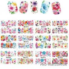 Набор водных наклеек для ногтей A 1369-1380 цветы 12шт