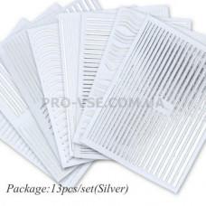 Набор наклеек для ногтей Гибкие ленты, Серебро 13шт   фото | PRO-VSE
