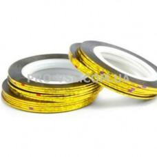 Наклейки для ногтей Ленты, скотч Золото голографическое 1мм