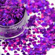 Блестки Сердце Фиолетовый голографический