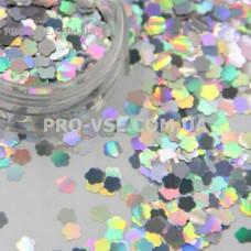 Блестки Цветы Серебро голографический