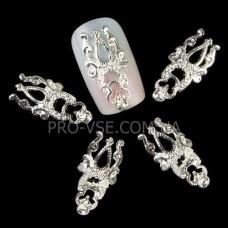 Тризуб Серебро (2х0,8см), брошь, объемный декор для украшения ногтей