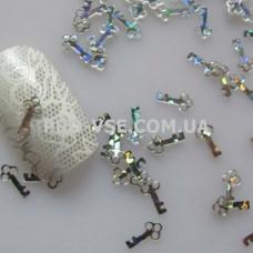Декор для ногтей фигурки Ключик серебро голографическое