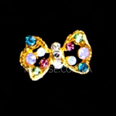 Бант с разноцветными стразами, брошь, объемный декор для украшения ногтей