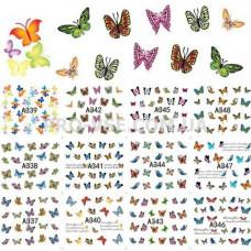 Набор водных наклеек Бабочки 12 шт. А337-А346