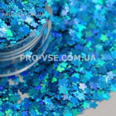 Блестки Цветы Голубой