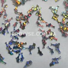 Декор для ногтей фигурки Дельфин серебро голографическое